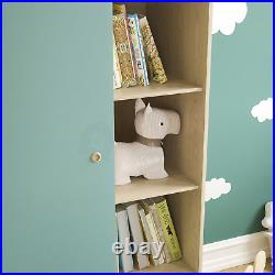 1 Door Wardrobe 5 Shelfs Double Hanging Rail Clothing Storage Bedroom Blue Kids