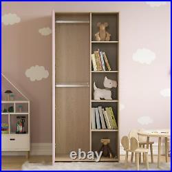 1 Door Wardrobe 5 Shelfs Double Hanging Rail Clothing Storage Bedroom Pink Kids