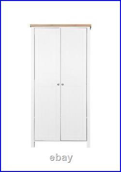 2 Door Double Wardrobe In White Bedroom Furniture Storage Cupboard