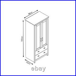 2 Door Traditional Combination Wardrobe Bedroom Storage Grey/ Cream & Light Oak