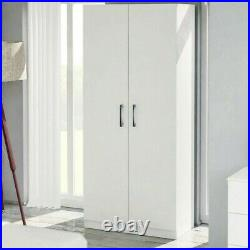 2 Door Wardrobe Cupboard White Storage Cabinet Bedroom Furniture Nursery Kids
