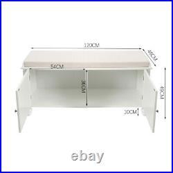 2 Doors Shoe Storage Bench Stool with Padded Seat Cushion Wood Shoe Cabinet Unit