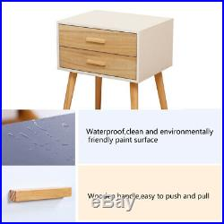 2 Drawer Scandi Retro Style Bedside Cabinet Nightstand Table withDrawers Storage