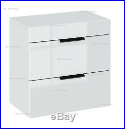 2 Drawers bedside chest of drawers cabinet storage White Gloss Fronts