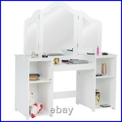 2 In 1 Kids Vanity Table Children Dressing Table Set with Mirror & Storage Shelves