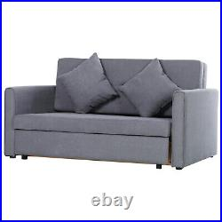 2-Seater Storage Sofa Convertible Bed Wood Frame Padding Compact Bedroom Grey