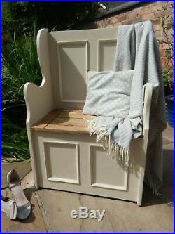2 ft Rustic Oak Finish Monks Bench Settle Storage Seat Box Painted F&B Colours