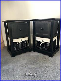 2x Gloss Black Bedside Tables, Wicker Storage Baskets, Bedroom Furniture Cabinet