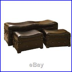 3 Antiqued Leatherette Bench Trunks Set Faux Leather Upholstered Storage Bedroom