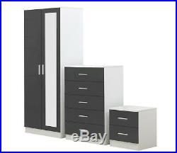 3 Piece REFLECT Mirrored Gloss Grey / Matt White Bedroom Wardrobe Chest Bedside