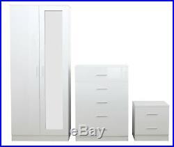 3 Piece REFLECT Mirrored Gloss White / Matt White Bedroom Wardrobe Chest Bedside