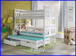 3 SLEEPER BUNK BED CHILDREN'S 3ft Pine Wooden Beds MATTRESSES & STORAGE new