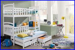 3 Sleeper Bunk Bed White Pine Triple Wooden Solid Foam Mattresses
