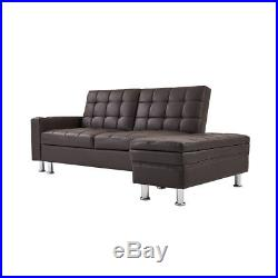 3 Seater Sofa Bed + Storage Box Bench Ottoman Sofa Cup Holders & Recliner Brown