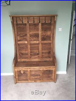 3 Ft Rustic High Back Style Monks Bench Settle Pew With