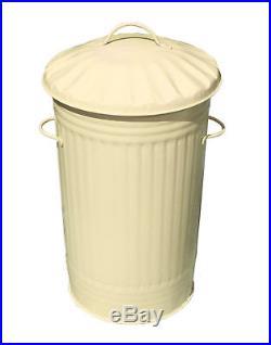 46L Litre CREAM Galvanised Metal Bin Slim Kitchen Rubbish Waste Dustbin Storage
