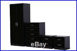 4 Piece High Gloss Bedroom Furniture Set Wardrobe Chest 2x Bedside Black/Black