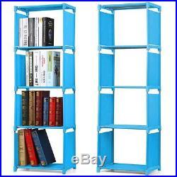 4 Tier Kids Bookcase Bookshelf Childrens Room Waterproof Fabric Storage Shelves