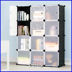 4 Tiers 3 Columns 12 Boxes Interlocking Cube Plastic Storage Bookcase Shelves