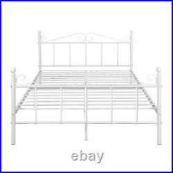 4ft6 Double Bed Frame Metal Bed Solid Bedstead Base with Large Storage Space New