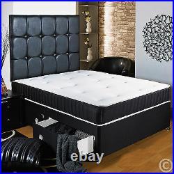 4ft 6 Double Black Divan Bed + Sprung Memory Foam Mattress + Headboard/drawers