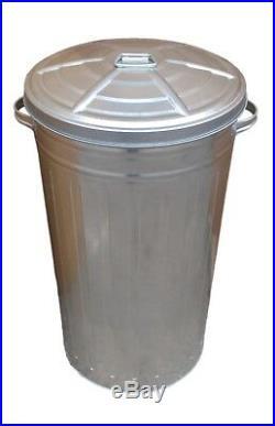 50 Litre Galvanised Metal Kitchen Bin Tall Slim Rubbish Waste Dustbin Storage
