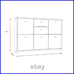 5 Door 2 Drawer Industrial Style Storage Cabinet Sideboard Brown & Grey