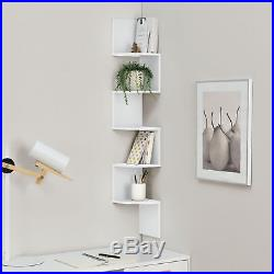 5-Tier Corner Wall Mounted Shelf Storage Rack Hanging Zig Zag Display Furniture