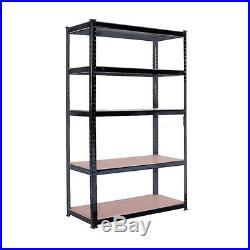 5 Tier Heavy Duty Boltless Metal Shelving Shelves Storage Unit Garage Home Black