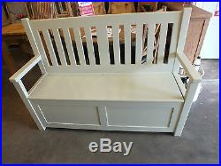 5' painted slat-back monks bench/ settle/ pewith storage/ hand made/ pine/ bespoke