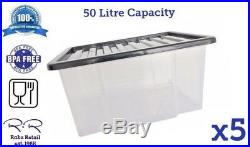 5 x 50L 50Litre Strong Large Clear Plastic Storage Box Boxes Container BPA Free