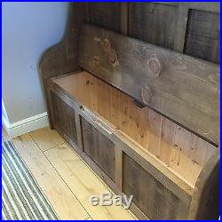 6 ft Rustic Monks Bench/Settle/Pew With Coat Hooks & Storage