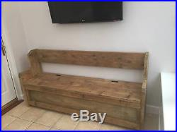 Marvelous 6 Ft Rustic Plank Style Monks Bench Settle Pew With Storage Andrewgaddart Wooden Chair Designs For Living Room Andrewgaddartcom