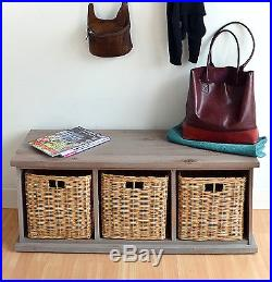 Acacia Hallway Bench with wicker baskets, QUALITY Assembled Large storage bench