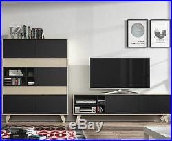 Agna Scandinavian Living Room Furniture Set TV Unit + Storage Cabinet Grey / Oak