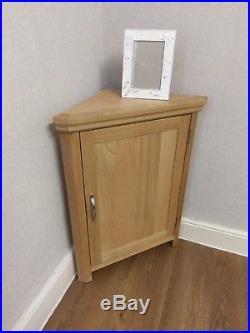 Alberta Light Oak Corner Cupboard Small Storage Cabinet ...
