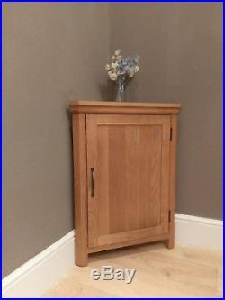 Alberta Modern Oak Corner Cupboard Small Storage Cabinet Solid Wood 1 Shelf