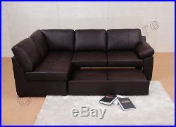 Alonza Leather Corner Sofa Bed L Shape & Storage Black Brown Corner Sofas Group