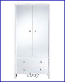 Amelia Modern 2 Door 2 Drawer Mirrored Wardrobe White Home Bedroom Storage Unit