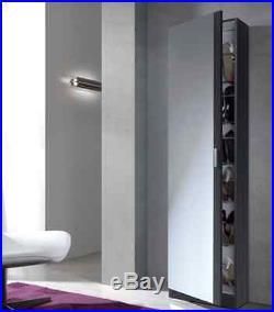 Angelo Tall Slim Shoe Storage Cabinet Mirrored Door Grey Ash Wall Mountable