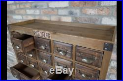 Antique Vintage Style Rustic Wooden Multi Drawer Storage Apothecary Cabinet Unit