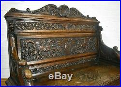 Antique heavily carved hall seat storage bench settle