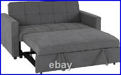 Astoria 2 Seater Fabric Sofa Bed, in Blue, Grey and Black. Compact Storage Sofa
