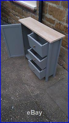BESPOKE H80 W80 D25cm 1 DOOR 4 DRAWERS CHEST SIDEBOARD STORAGE UNIT REAL OAK TOP