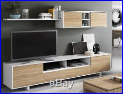 Bambi TV Media Centre Storage Unit Living Room Furniture White / Oak Melamine