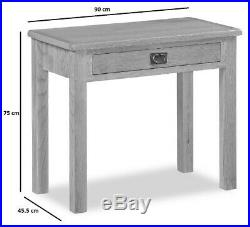 Baysdale Oak Slim Laptop Desk / Rustic Dressing Table / Office Workspace Storage