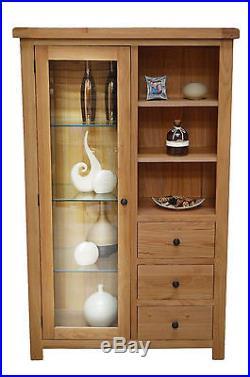 Beaufort Oak Combination Display Cabinet with Storage and Glass Door