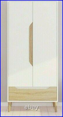 Bedroom Furniture 2 Door Wardrobe Cupboard Storage Cabinet & Drawers White Oak