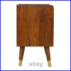 Bedside Table Dark Mango Wood Brass Storage Shelf Drawer Brass Feet Art Deco