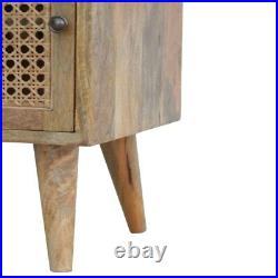 Bedside Table Light Mango Wood Brass Storage Drawer Door Rattan Scandinavian